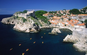 SC-0013 Kayacks entering DubrovniK old town harbour