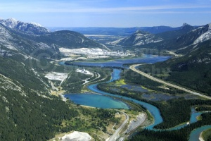 SC-0041 Ariel view of winding river from Canmore town, British C