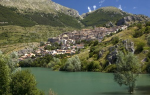 SC-0051 Barrea town from the lake, Italy
