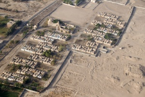 TR-0100 Ariel view of human habitation at the edge of the desert