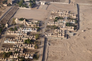TR-0101 Ariel view of human habitation at the edge of the desert