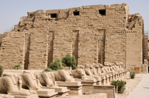 TR-0104 Avenue of sculptured ram-headed sphinx Karnak Temple Egy