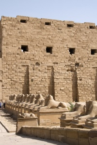 TR-0105 Avenue of sculptured ram-headed sphinx Karnak Temple Egy